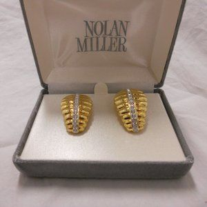Nolan Miller Earrings Gold Pave Clip On Vintage
